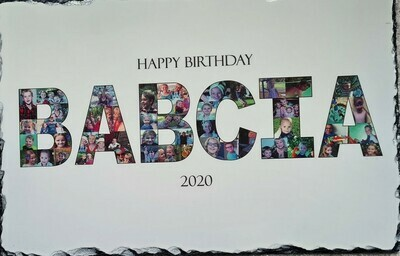 Photo mosaic Name on slate  with stand or on photo paper and in frame