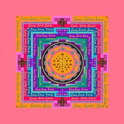 Shri Yantra Love: Orange, Grön, Lila, Rosa, LjusRosa, grönTurkos, Ljusgrön, Persikorosa, LjusgulOrange