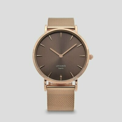 Armbanduhr Luna Rose Gold Chocolate - Rose Gold Mesh