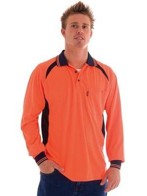 Hi Vis Cool-Breeze Contrast Mesh Polo Shirt L/S