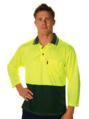 HiVis Two Tone Cool Breathe Polo Shirt, 3/4 Sleeve