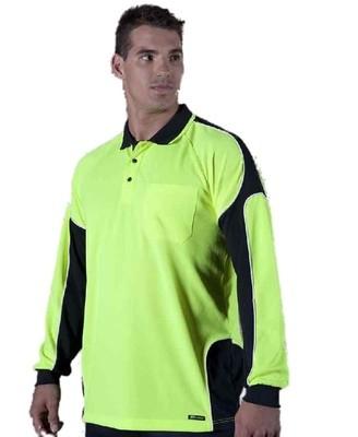 Hi Vis L/S Arm Panel Polo Shirt
