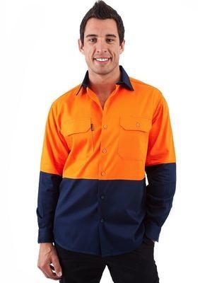 HiVis Two Tone Cool Breeze Cotton Shirt Long Sleeve