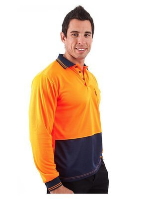 HiVis Two Tone Fluoro Polo Shirt, LS