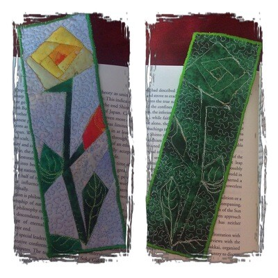 Downloadable .PDF Pattern : Quilted Rose-Stem Bookmark