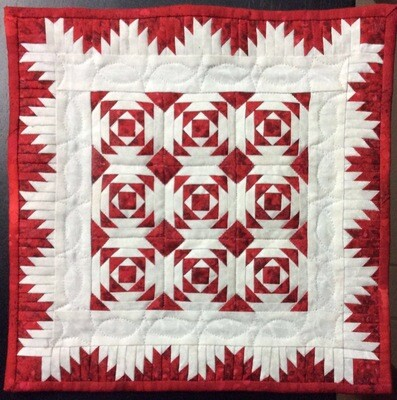 Downloadable .PDF pattern for Delectable Pineapples Red and White Miniature Quilt with border options