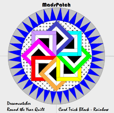 Downloadable Foundation Paper Piecing Pattern and Instructions for CARDTRICK BLOCK3 Rainbow Dreamcatcher Round the Year Quilt