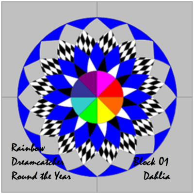 Downloadable Foundation Paper Piecing Pattern and Easy Strip-piecing Instructions for DAHLIA BLOCK1 Rainbow Dreamcatcher Round the Year Quilt