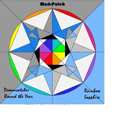 Downloadable Foundation Paper Piecing Pattern and Instructions for RAINBOW SAPPHIRE BLOCK04 Dreamcatcher Round the Year Quilt
