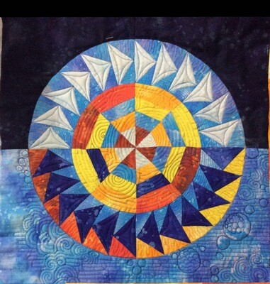Downloadable Foundation Paper Piecing Pattern and Instructions for EVENING AT THE POND BLOCK02 Dreamcatcher Dusk Round the Year Quilt