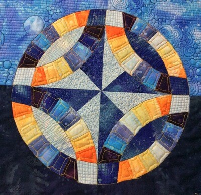 Downloadable Foundation Paper Piecing Pattern and Instructions for Wedding Ring Block09 Dreamcatcher Dusk Round the Year Quilt