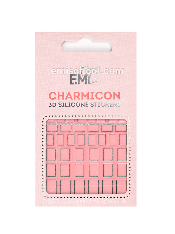 Charmicon 3D Silicone Stickers #112 Squares Silver