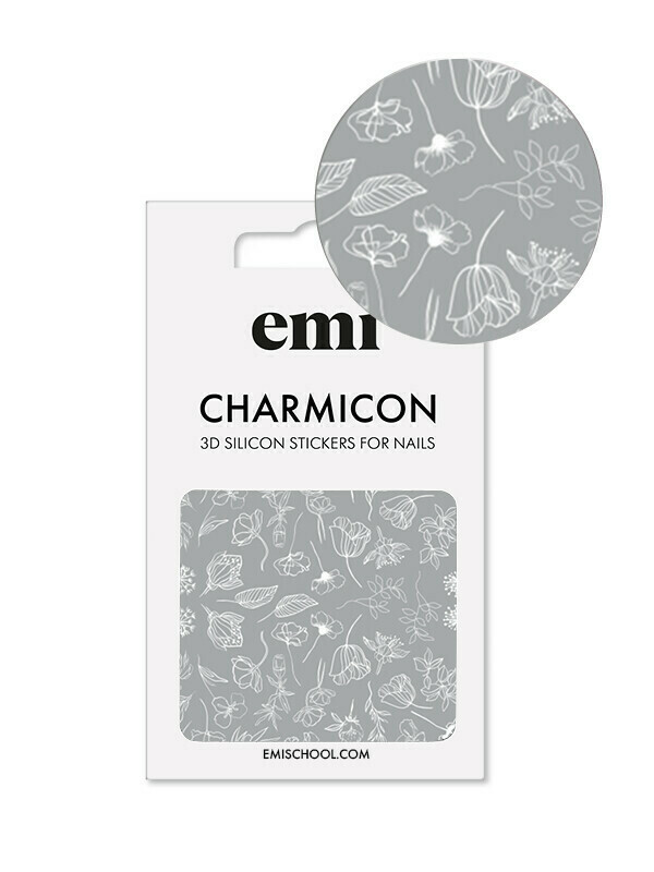 Charmicon 3D Silicone Stickers #177 White Flowers