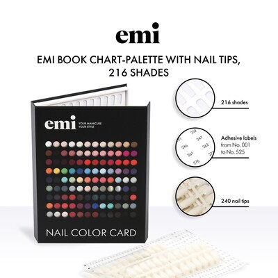 Book Chart-Palette with Nail Tips, 216 shades
