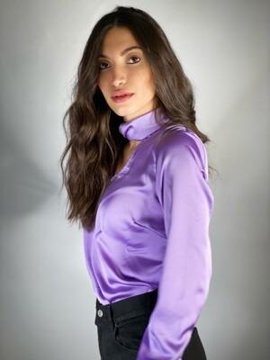 Blusa in raso lilla