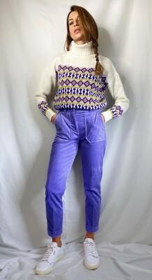 Pantaloni in velluto a coste lilla