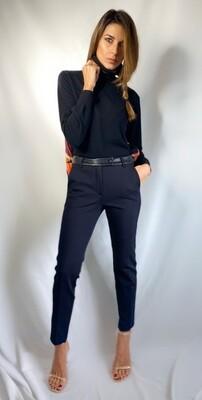 Pantalone nero gamba skinny con vita in ecopelle
