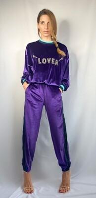 Panta tuta in velluto ciniglia viola