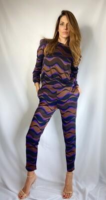Pantalone jacquard con disegno onda