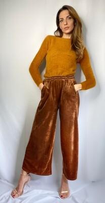 Pantalone effetto tuta in velluto ciniglia