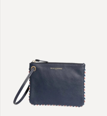 Blu Navy leather Marcia M clutch bag