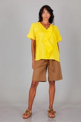 Blusa in lino con rouches