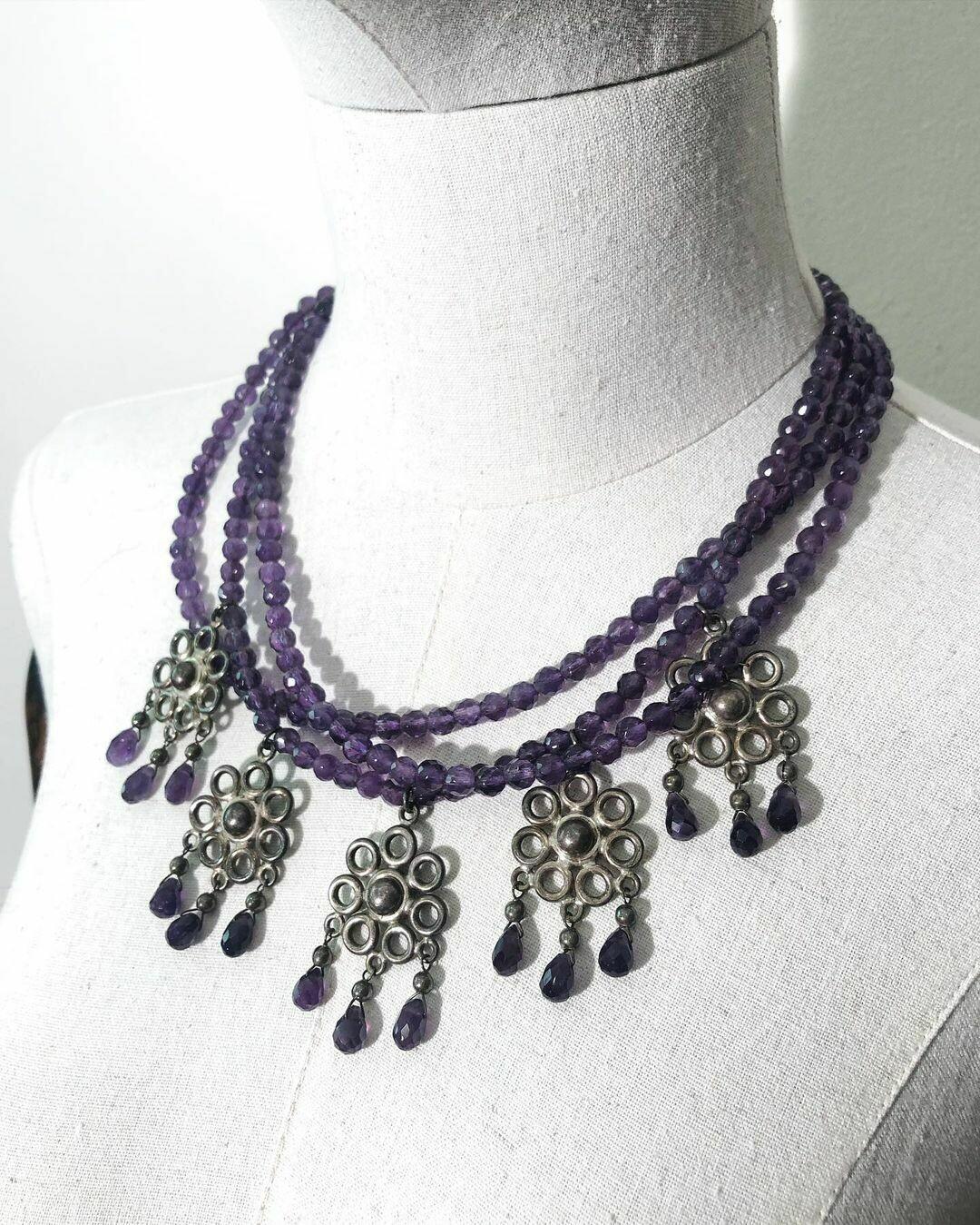 Ожерелье из аметистов и серебра от Carlos & Albert