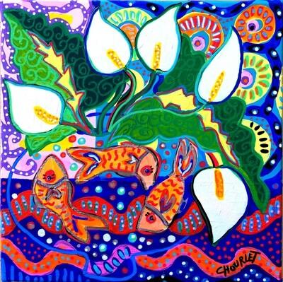Arums et poissons rouges