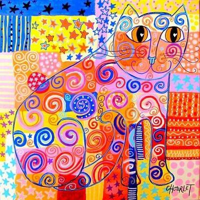 Chat aux étoiles orangées