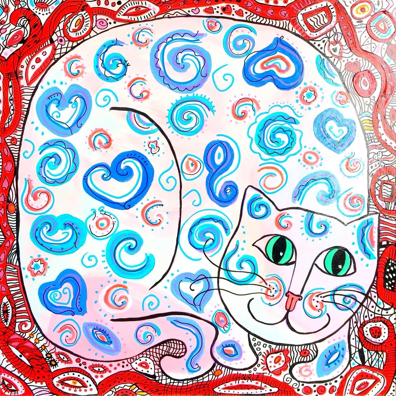 Chat aux yeux verts et aux cœurs bleus