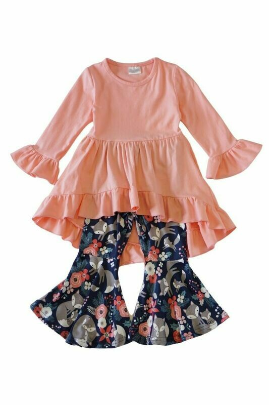 Pink Ruffle/Floral Bell Pants