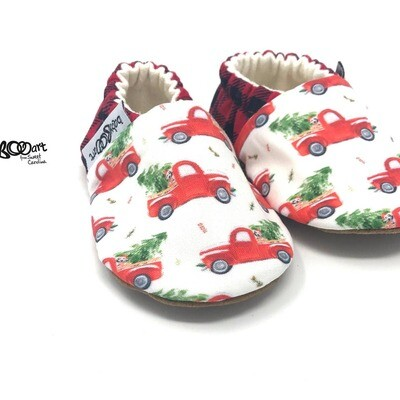 Christmas truck baby moccasins