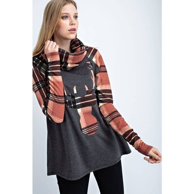 plaid cowl-neck top