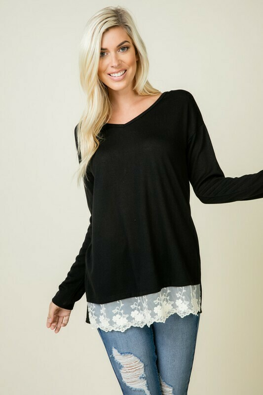 black long sleeve with lace bottom