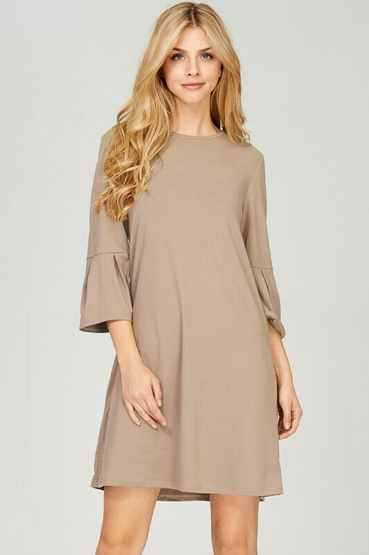 Brushed Ruffle Sleeve Dress