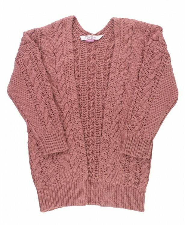 mauve chunky knit open style cardigan