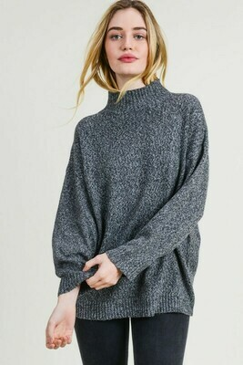 Hi-neck pullover sweater top