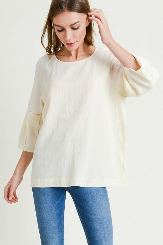 Cotton Round Neck W/ Bubble Sleeve