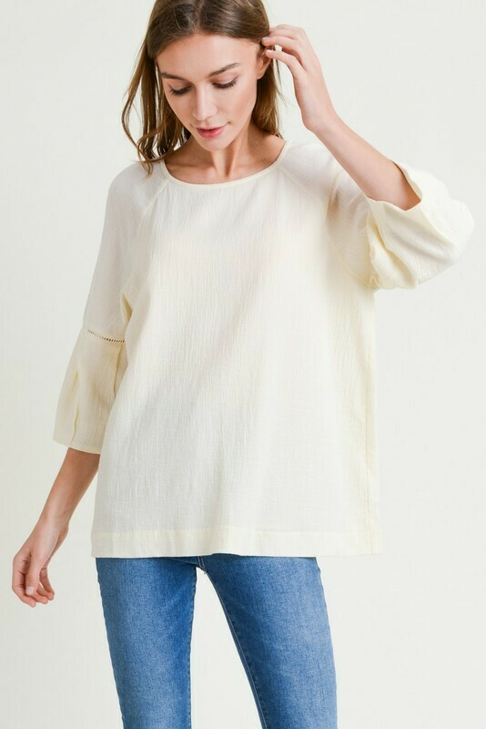 Cotton Round Neck W/ Bubble Sleeve