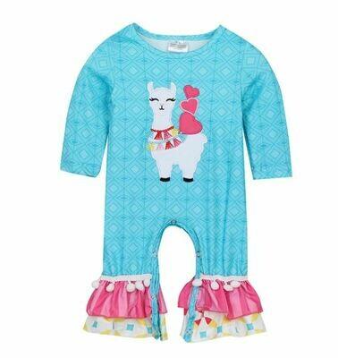 blue llama applique baby romper