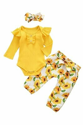 yellow floral ruffle baby romper and headset
