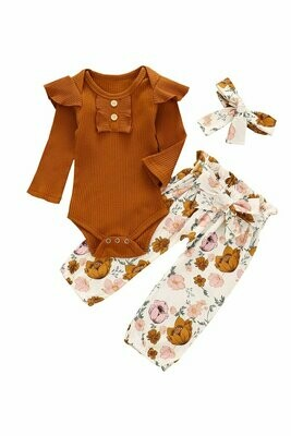 rust brown floral ruffle baby romper and head band