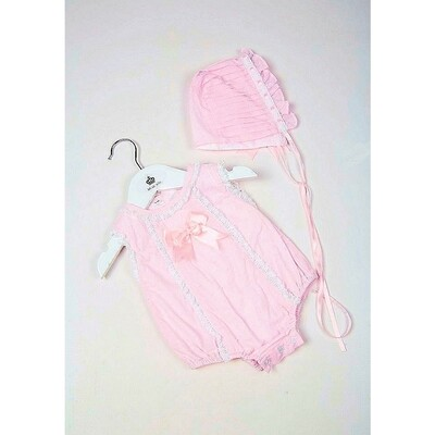 Pink Shortie and Bonnet Set