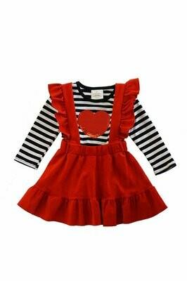 Valentines Suspender Skirt Set