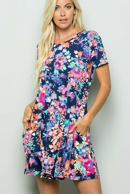 Navy Floral drs w/ Pockets
