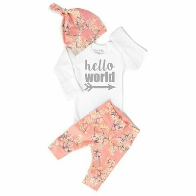 hello world pink floral NB SS