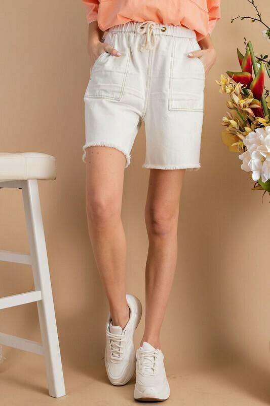 Washed Cargo Denim Shorts