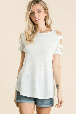 Cut out sleeve solid top -Waffle Solid Knit