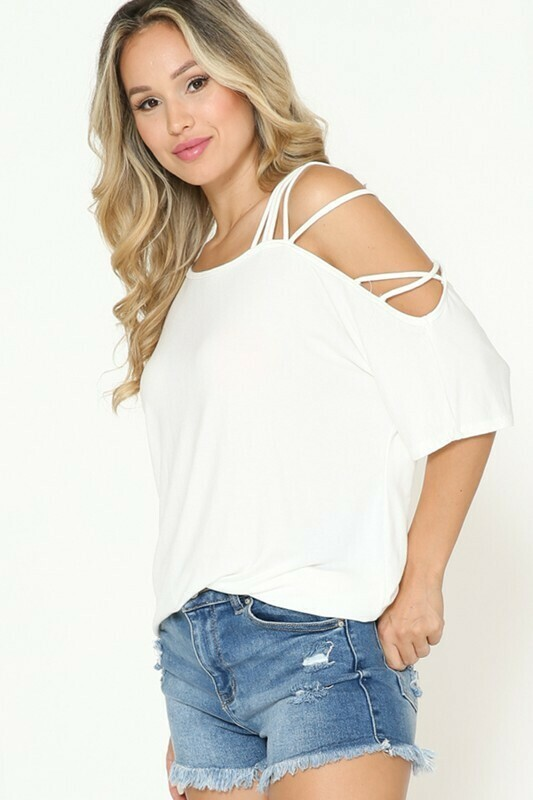 off one shoulder with strap tunic top