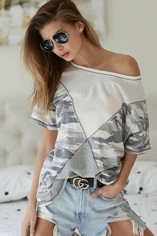 triblend knit with camo print